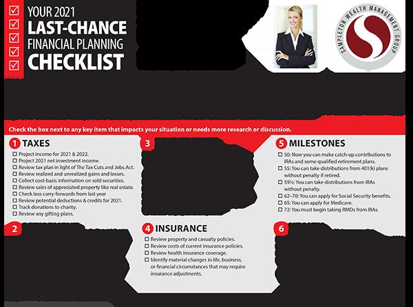 Last Chance Finacial Planning Checklist Sample