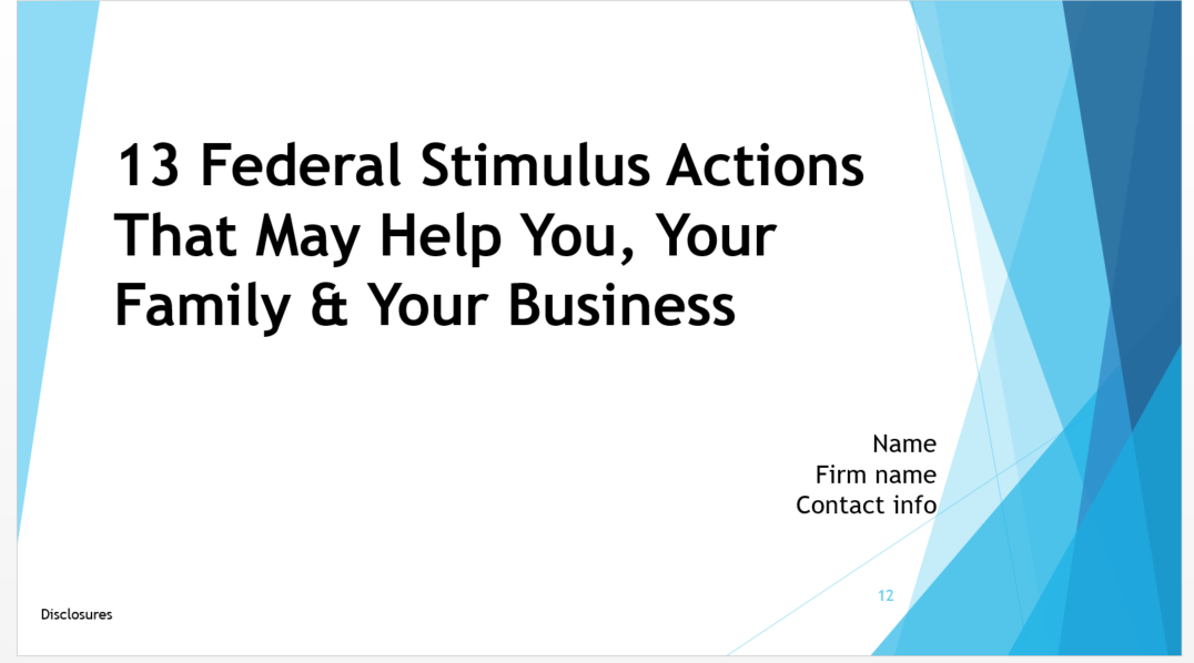 CARES Act: 13 Federal Stimulus Actions That May Help You, Your Family & Your Business