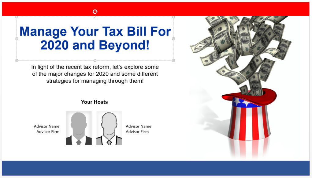Manage Your Tax Bill For 2020 and Beyond!