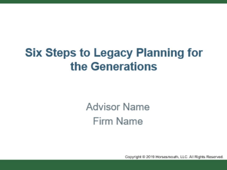 6 Steps to Legacy Planning for the Generations