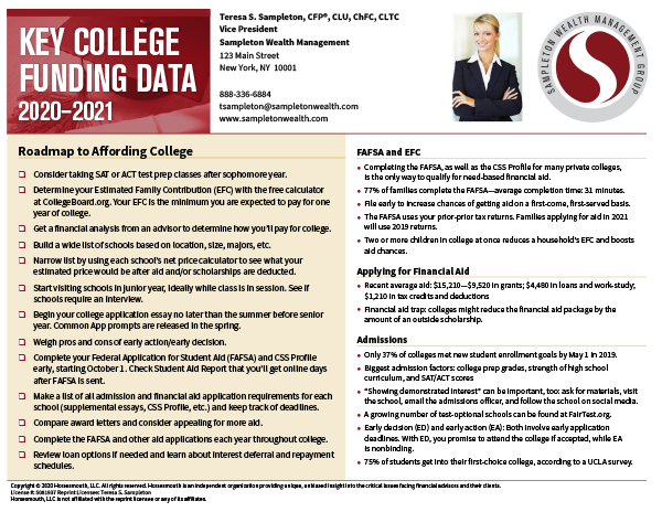 Key College Funding Card Sample