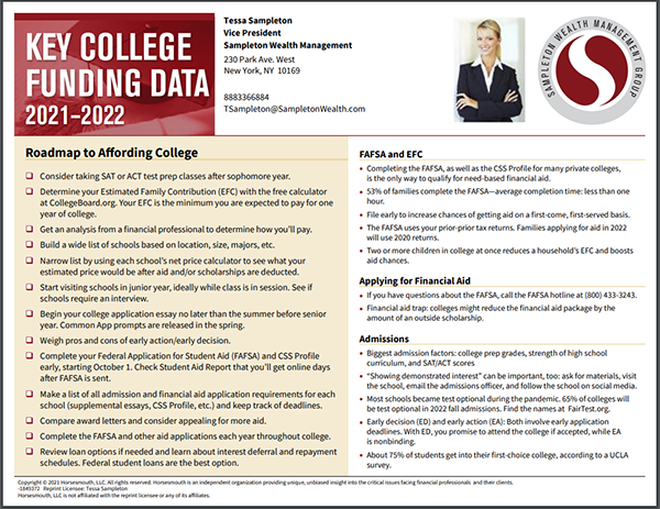 Key College Funding Card Sample