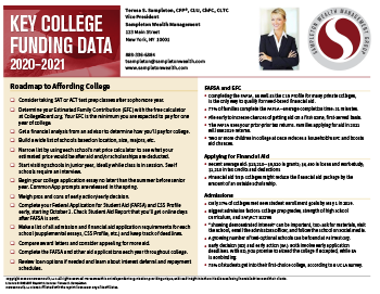 Key college funding data card
