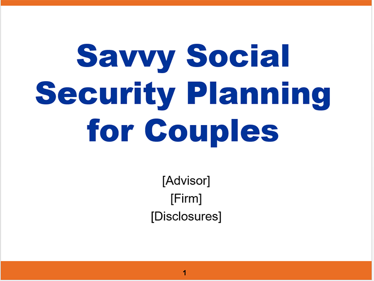 Savvy Social Security Planning for Couples
