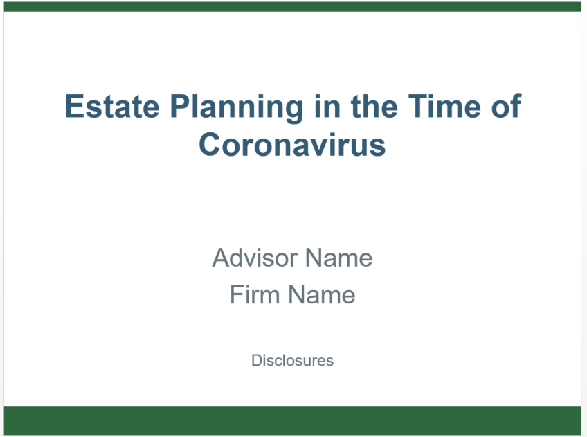 Estate Planning in the Time of Coronavirus