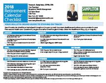 Retirement Calendar Checklist