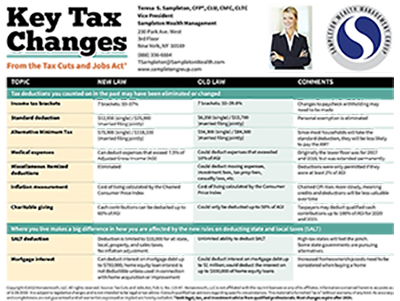 Key Tax Changes Card