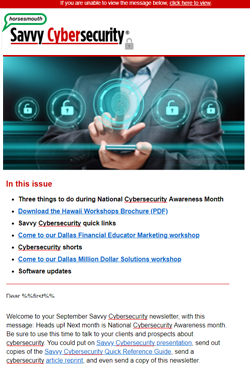 Savvy Cybersecurity Newsletter