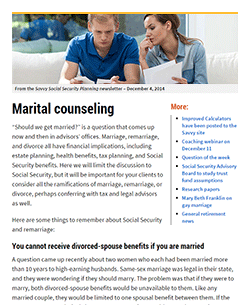 Savvy Social Security Newsletter